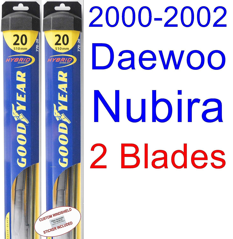 2000 - 2002 Daewoo Nubira (modelos de repuesto para limpiaparabrisas Set/Kit (Goodyear limpiaparabrisas blades-hybrid) (2001): Amazon.es: Coche y moto