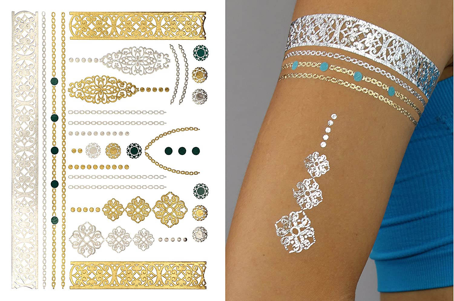 100 metallic foil sports ink temporary temporary for Metallic tattoo ink