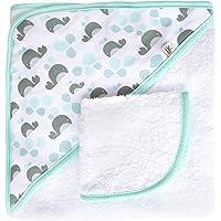 Jj Cole Two-Piece Hooded Towel Set, Aqua Whales