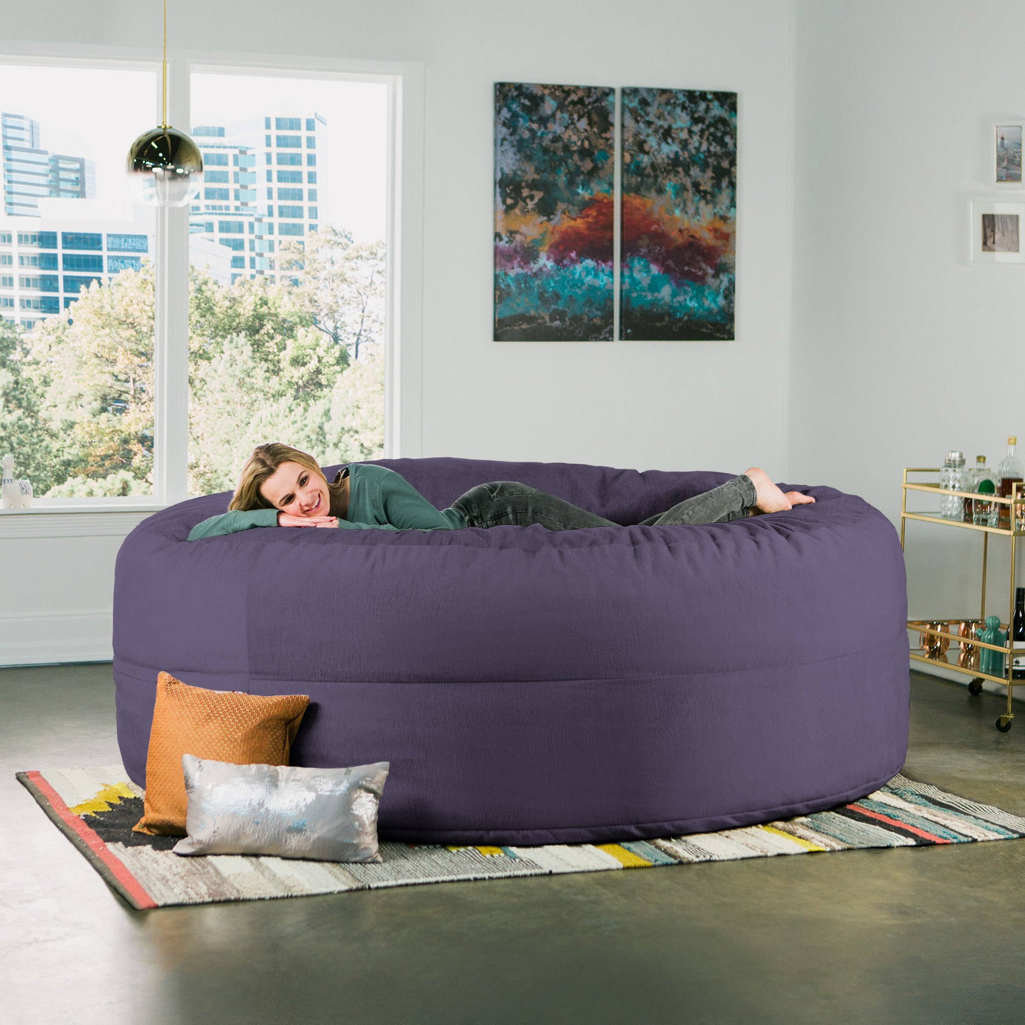 Jaxx Cocoon 8 Foot Huge Sleeper Bean Bag Bed - Chenille, Plum