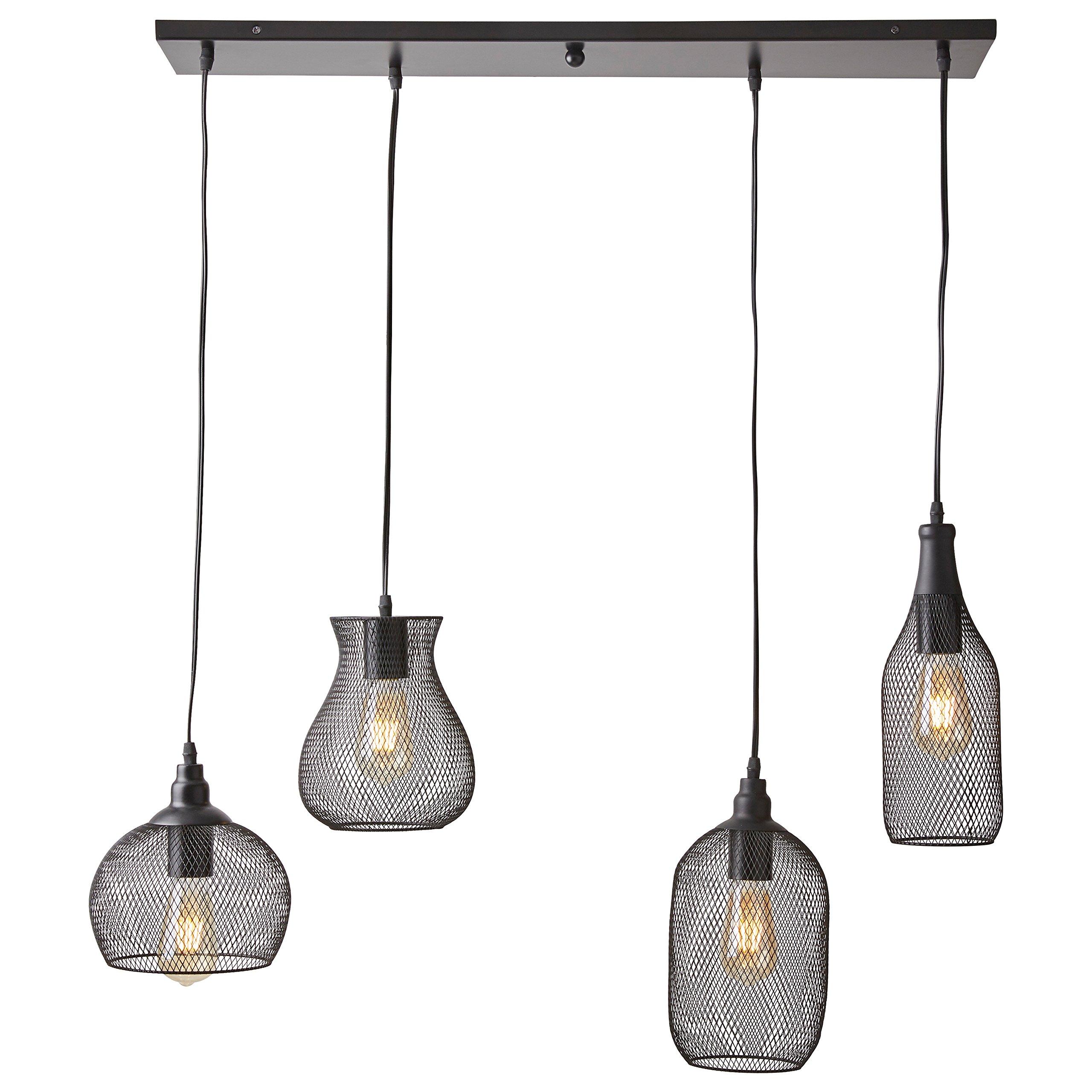 Stone & Beam Mesh 4-Light Pendant Chandelier with Edison Bulbs, 40''H, Black