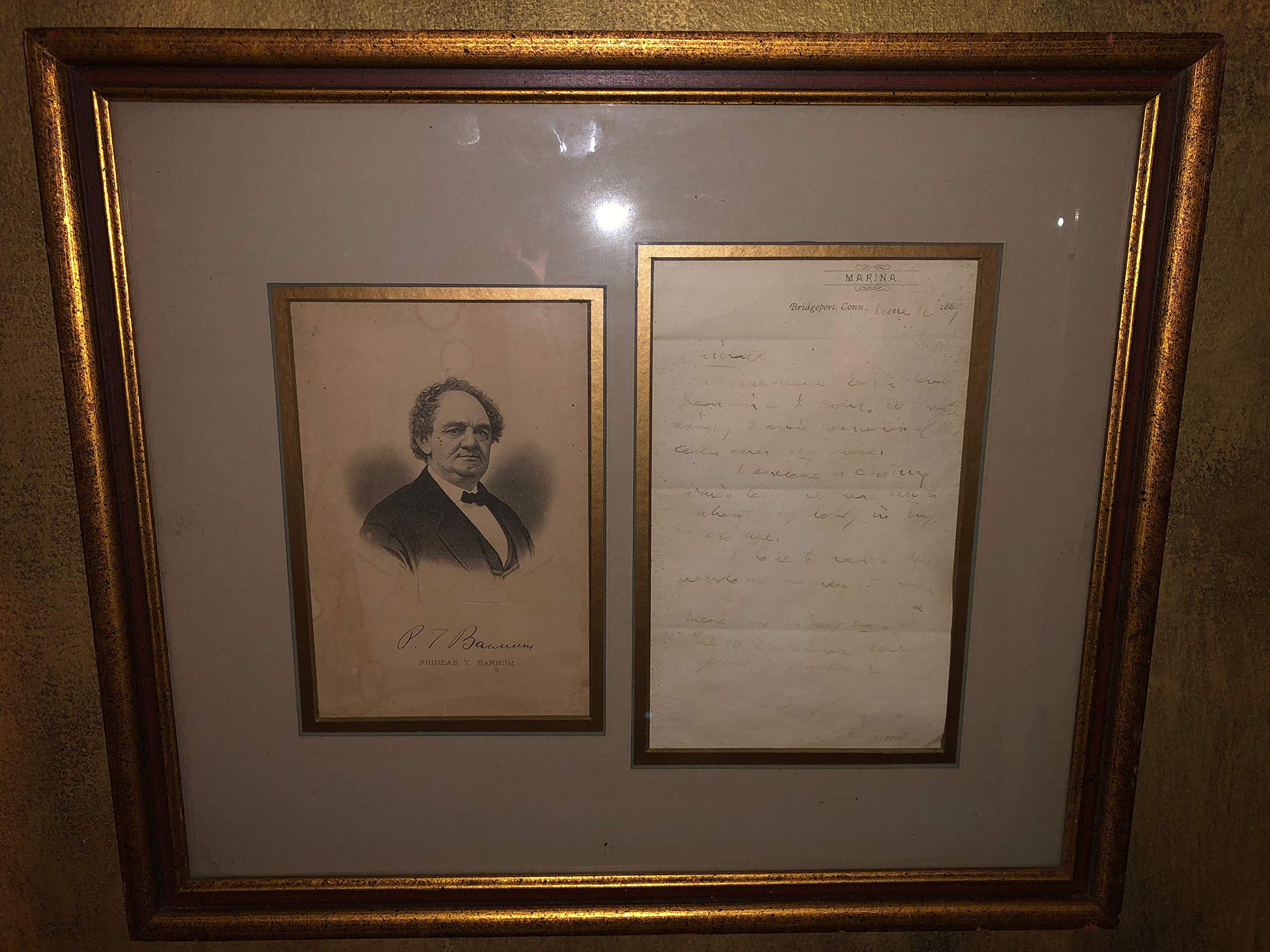 P.T. Barnum 1889 Signed Handwritten Letter with Photo Framed, Autographed, PT Barnum, Barnum and Bailey, Circus