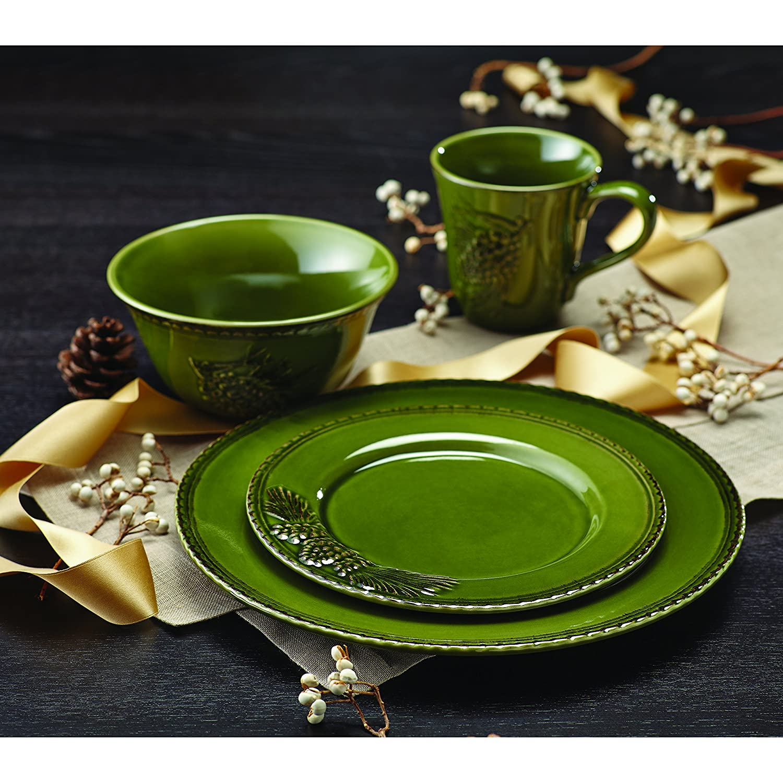 Sierra Pine Stoneware Dinner Plate Set