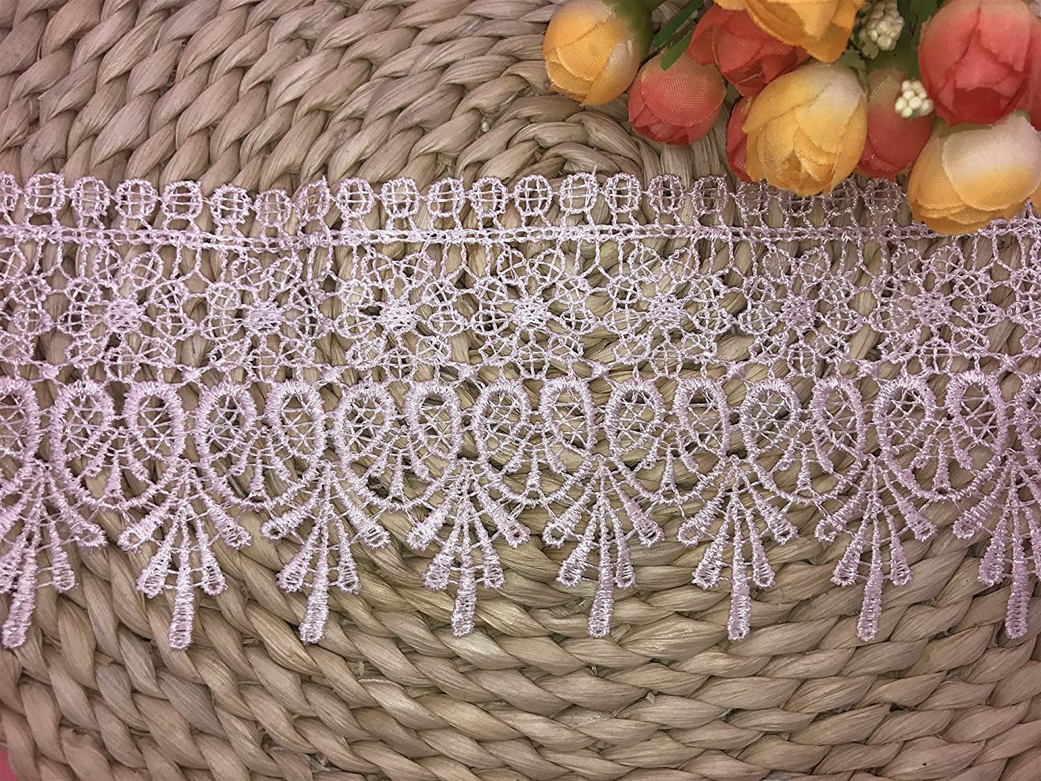 Ivory 2 Yards in one Package 9CM Width Europe Chips Pattern Inelastic Embroidery Lace Trim,Curtain Tablecloth Slipcover Bridal DIY Clothing//Accessories.