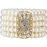 Cizoe Art Deco 20s 30s Flapper Gatsby Acessories Jewelry Great Gatsby Inspired Bridal Pearl Elastic Bracelet Bangle