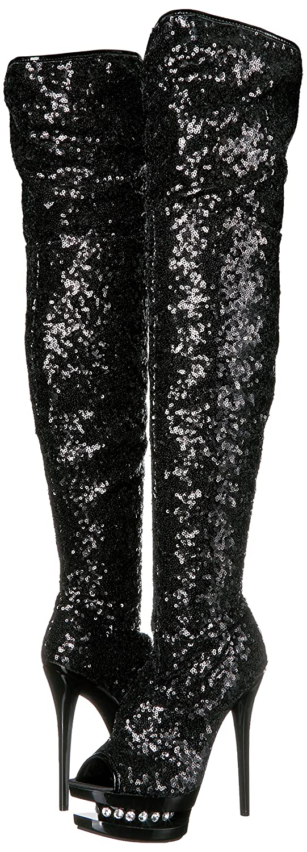Pleaser Women's Bl-r3011/Bsq/M Boot B00B472AKQ 7 B(M) US|Black Sequins/Black