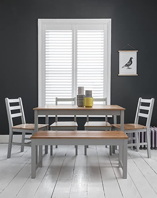 table 4 chairs and bench. annika dining table and 4 chairs bench in silk grey natural pine n