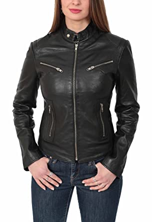 House Of Leather Mujer Cuero Genuino Estilo del Biker ...