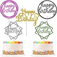 30 Pieces Glitter Happy Birthday Cake Topper Birthday Cupcake Topper Colorful Cake Decorations for Birthday Party Supply (Gold, Silver, Green, Black, Purple)