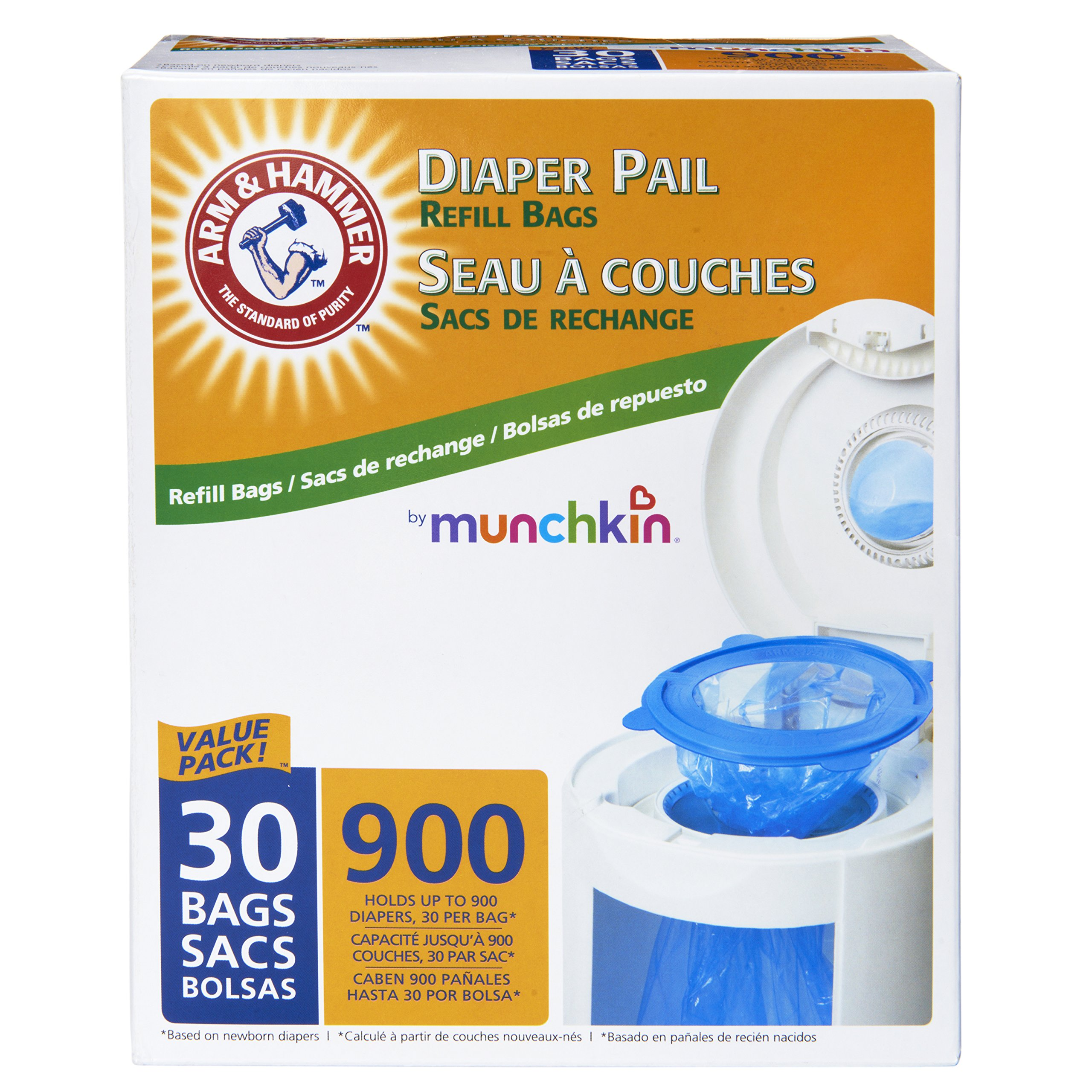 Munchkin Arm & Hammer Diaper Pail Snap, Seal and Toss Refill Bags, 900 Count, 30 Pack