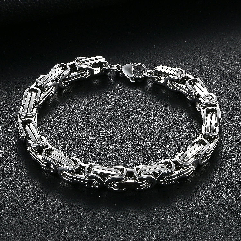 OIDEA Bracelet Cha/îne de Main Homme Acier Inoxydable Couleur Argent avec Sac Cadeau