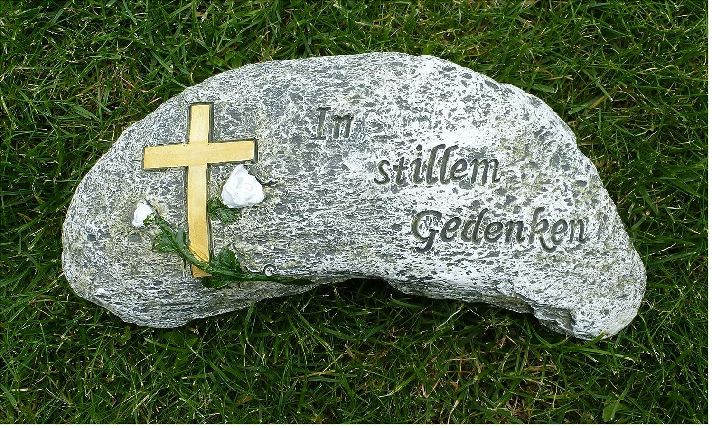 *Gedenkstein mit Kreuz und Rose Grabschmuck *In stillem Gedenken* Breite 25 cm