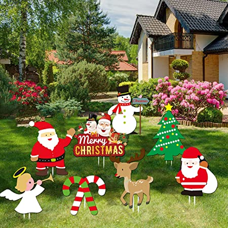 Joytplay Pack Of 8 Christmas Yard Signs With Stakes For Holiday Lawn Yard Outdoor Decorations Christmas Holiday Decorations Outdoor Multi Amazon Co Uk Garden Outdoors