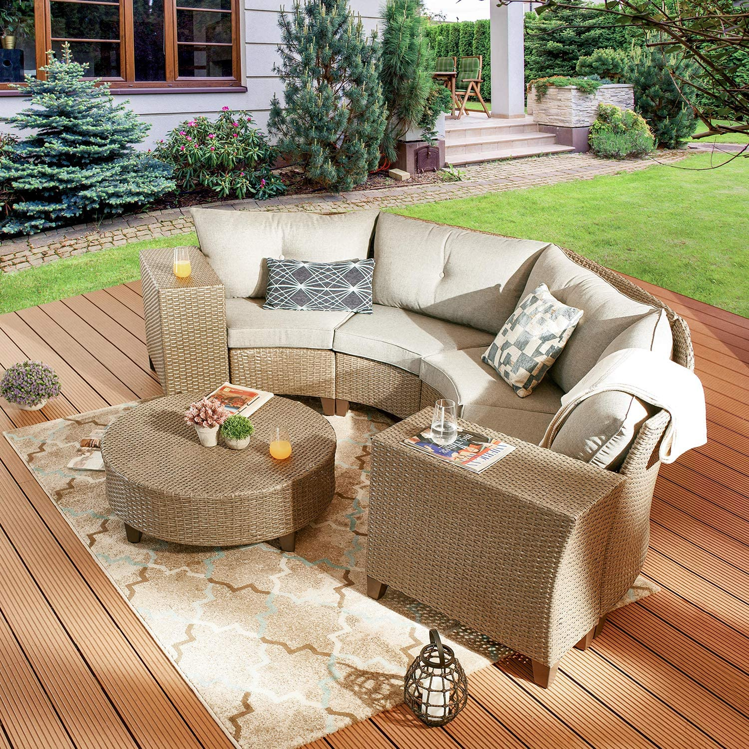 Festival Depot 7-Piece Patio Furniture Outdoor Sectional Half-Moon Conversation Set All-Weather Sofa for Porch Lawn Garden Balcony Pool Backyard with Thick Grey Cushions, Brown