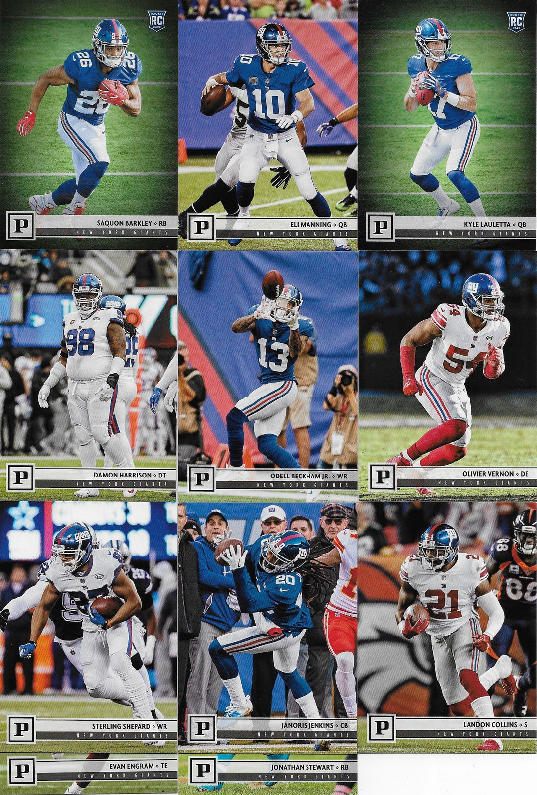 New York Giants 2018 Panini Factory Sealed NFL Football Complete Mint 11 Card Team Set with Eli Manning, Odell Beckham Jr, Rookie cards of Saquon Barkley and Kyle Lauletta plus