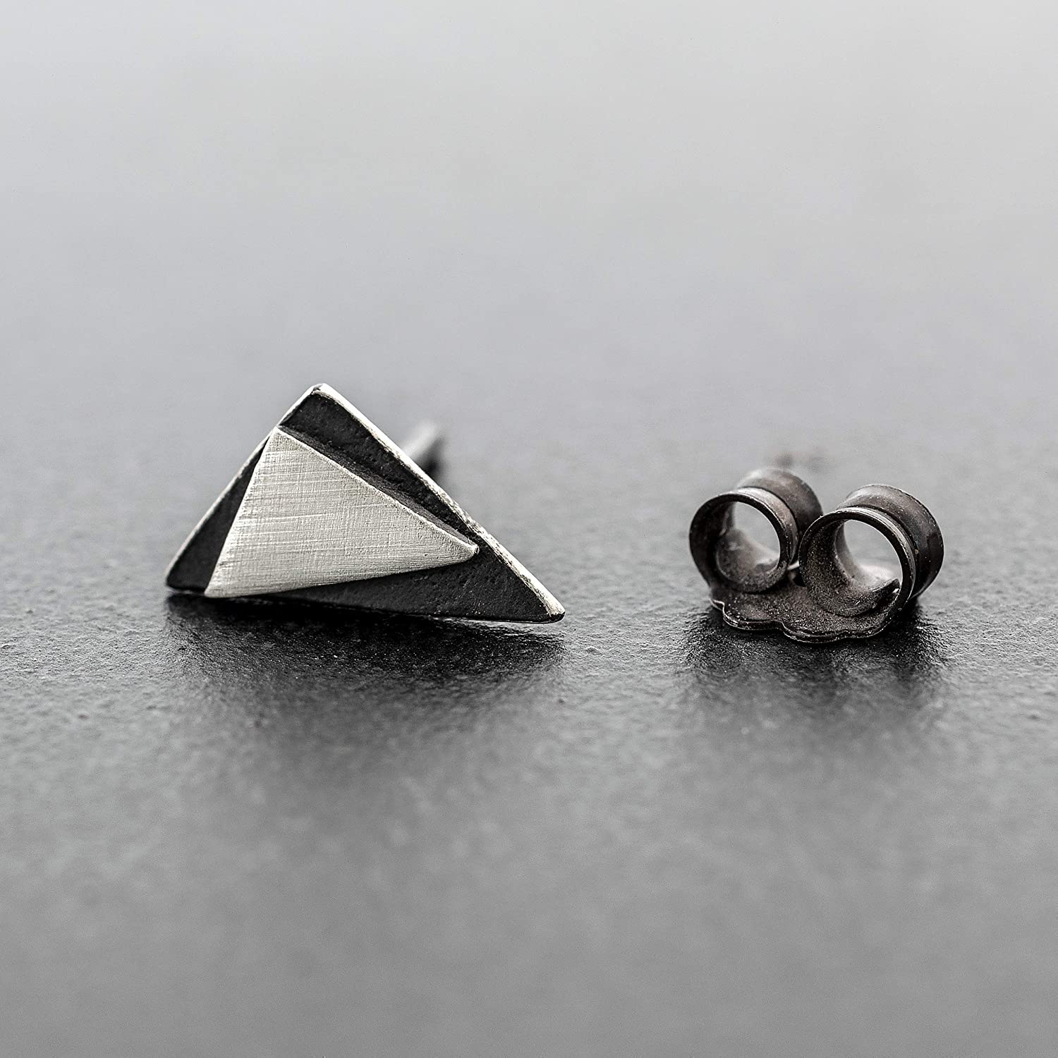 Sterling silver earring for men earring stud men stud earring triangle earring men gift for men jewelry boyfriend birthday gift men husband