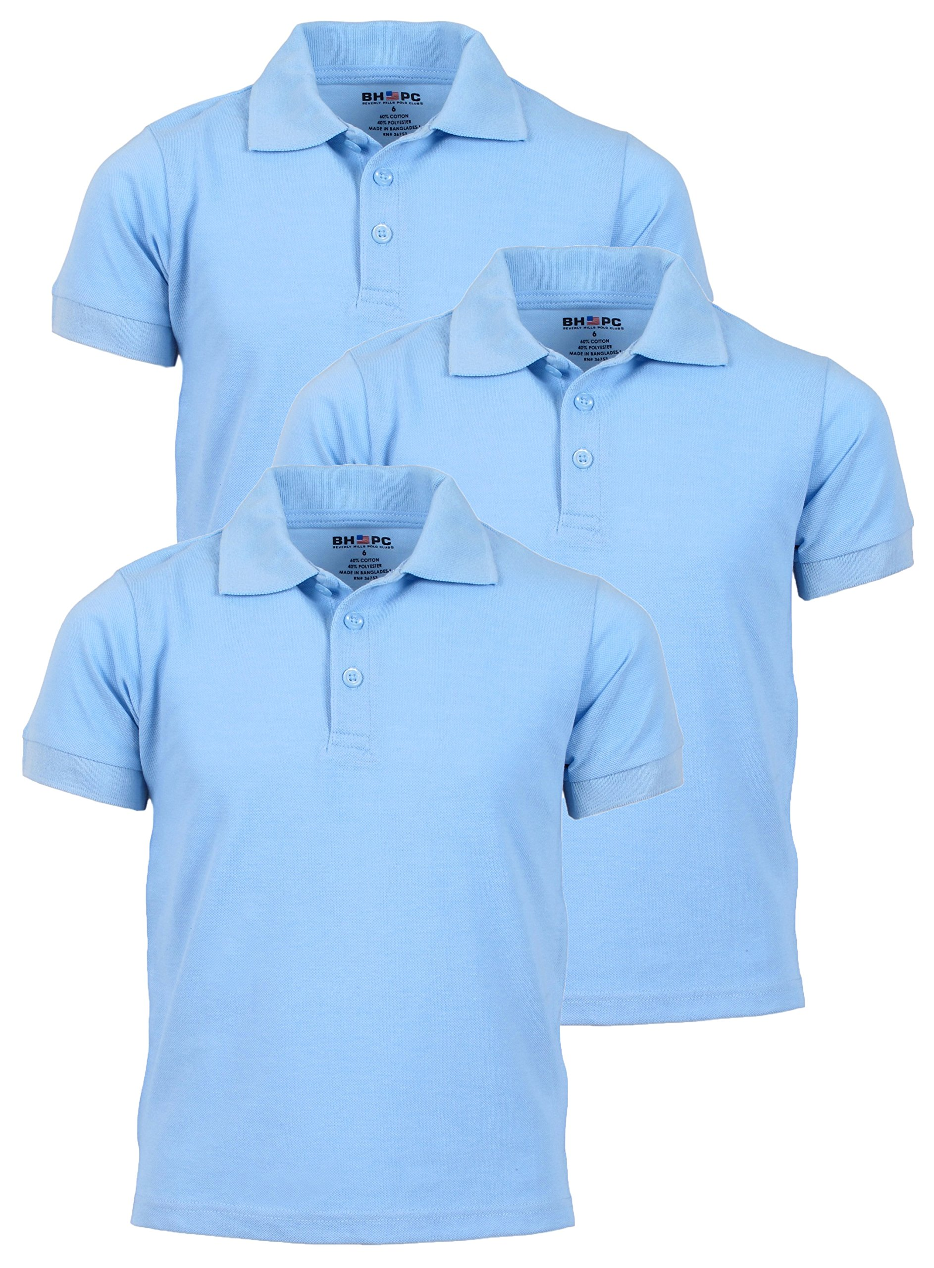 Beverly Hills Polo Club 3 Pack of Boys' Short Sleeve Pique Uniform Polo Shirts, Size 12, Light Blue