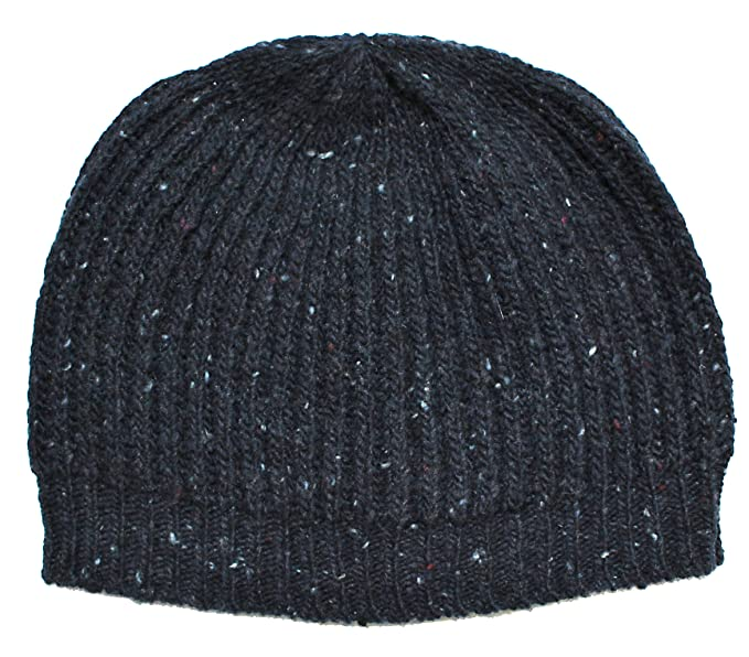 Ferruccio Vecchi Men s Navy Blue Wool Blend Knit Beanie Cap Hat at ... 2958548598c