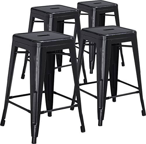 Flash Furniture Commercial Grade 4 Pack 24 High Backless Distressed Black Metal Indoor-Outdoor Counter Height Stool