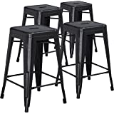 4 Pk. 24'' High Backless Distressed Black Metal Indoor-Outdoor Counter Height Stool