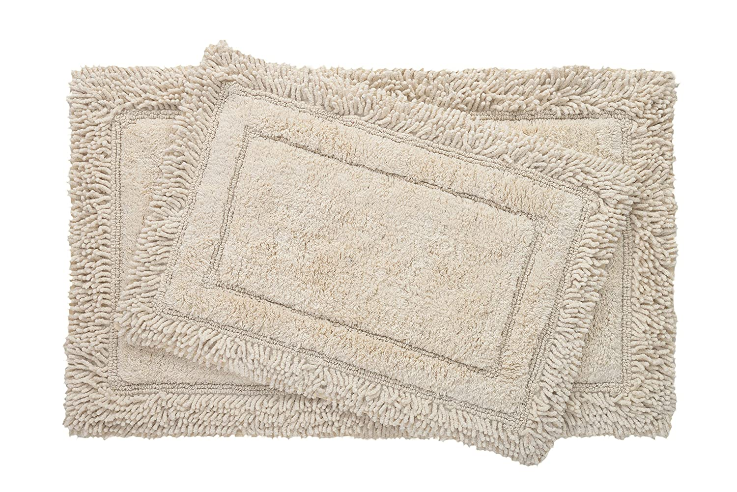 Bed Bath Fashions Savoy Shaggy 2 Piece 100% Cotton Bath Rug Set with Non-Skid Spray Latex Backing - Super Soft Luxurious Plush Shower Mats - 6 Colors (Sand) Trade Linker