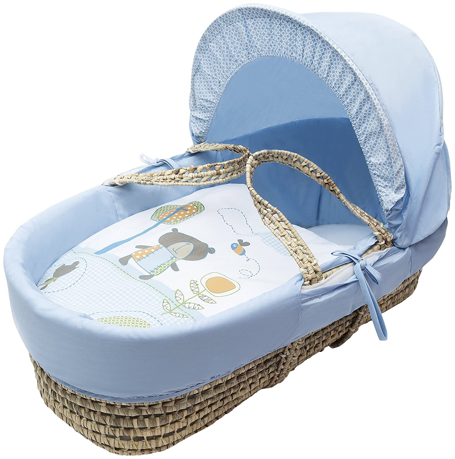 Kinder Valley Tiny Ted Moses Basket_Blue 10008