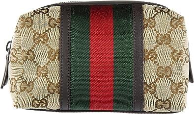 Gucci neceser estuche de maquillaje mujer nuevo GG NASTRO WEB beige: Amazon.es: Zapatos y complementos