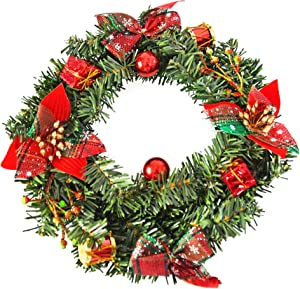 """Home-X Front Door Christmas Wreath with Shimmering Bows and Ornaments, for Home Wall, Window, Staircase, Door Décor, Outdoor Winter Home Decorations-10"""""""