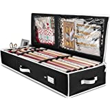 """ZOBER Premium Wrap Organizer, Interior Pockets, fits 18-24 Standers Rolls, Underbed Storage, Wrapping Paper Storage Box and Holiday Accessories, 40"""" Long - Tear Proof Fabric - 5 Year Warranty"""