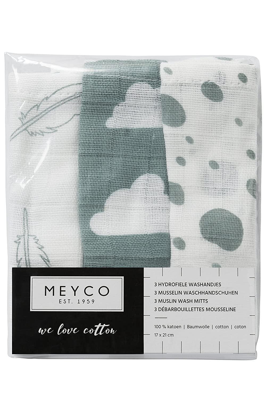 Meyco 458002 Mull-Musselin Waschlappen 3er Set 21x17 cm FEDER-WOLKE-DOTS Grau-Wei/ß