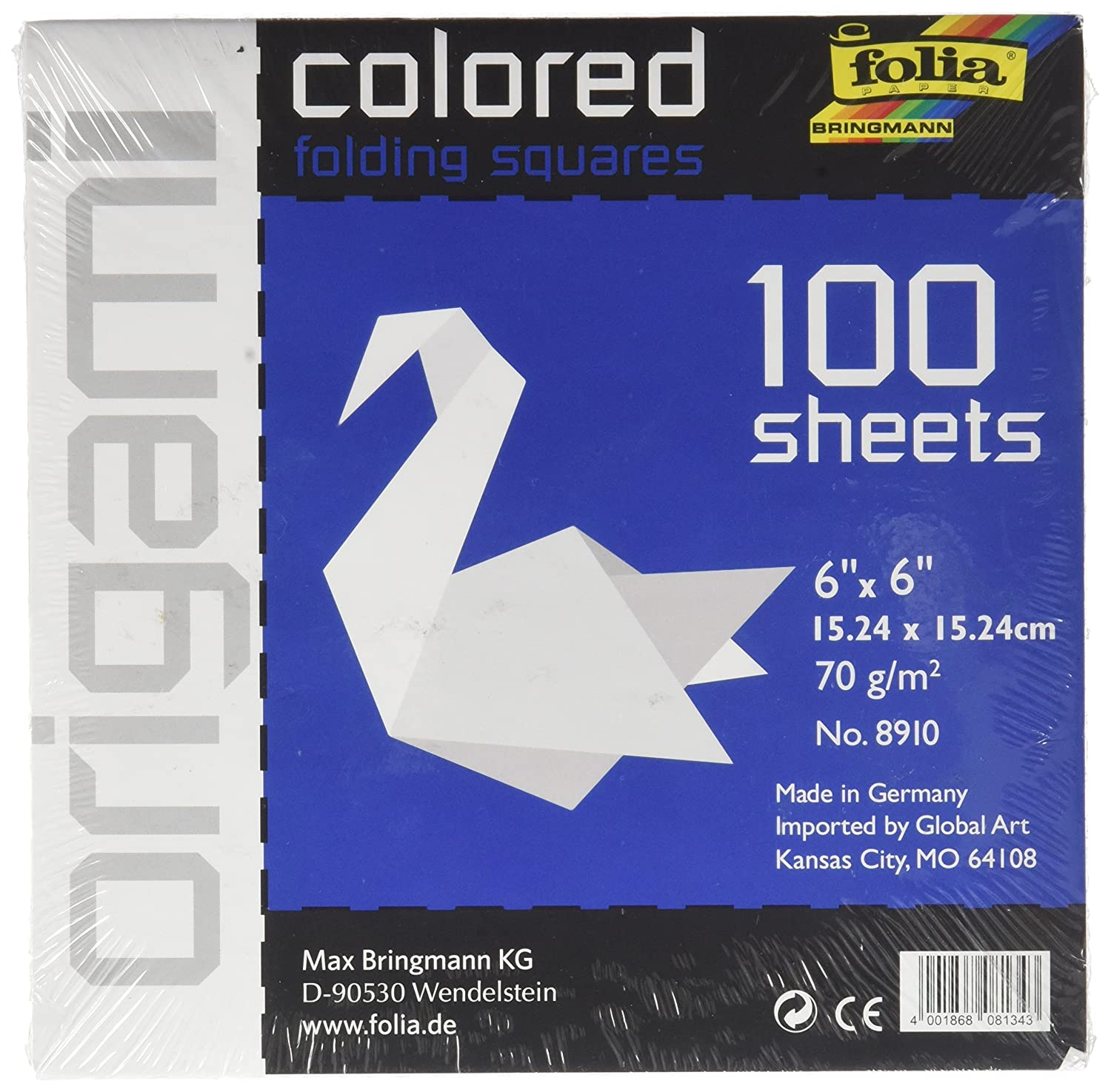 Global Art Folia Solid Origami Paper 6-inch x 6-inch 100/Pkg-White, Other, Multicoloured Notions Marketing 8910