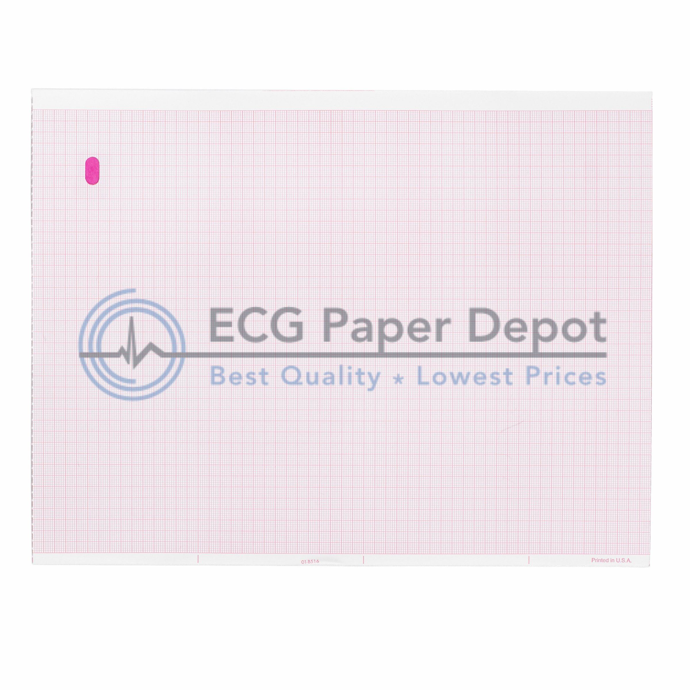 GE Compatible 9402-020 Generic ECG Paper 5 Packs, Z-Fold, Red Grid, 8.44'' x 11''