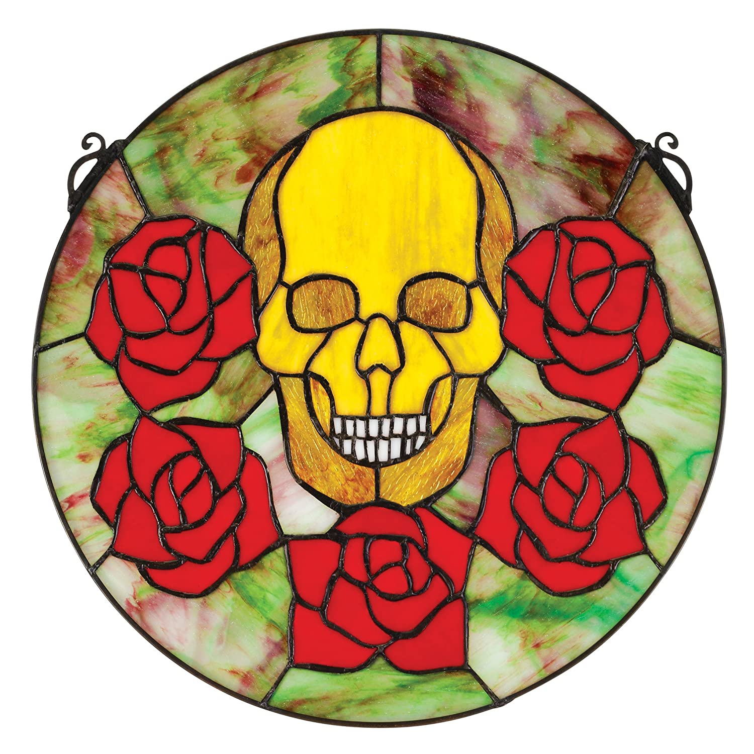 Design Toscano Beauty and Decay Gothic Skull Stained Glass Window TF27031