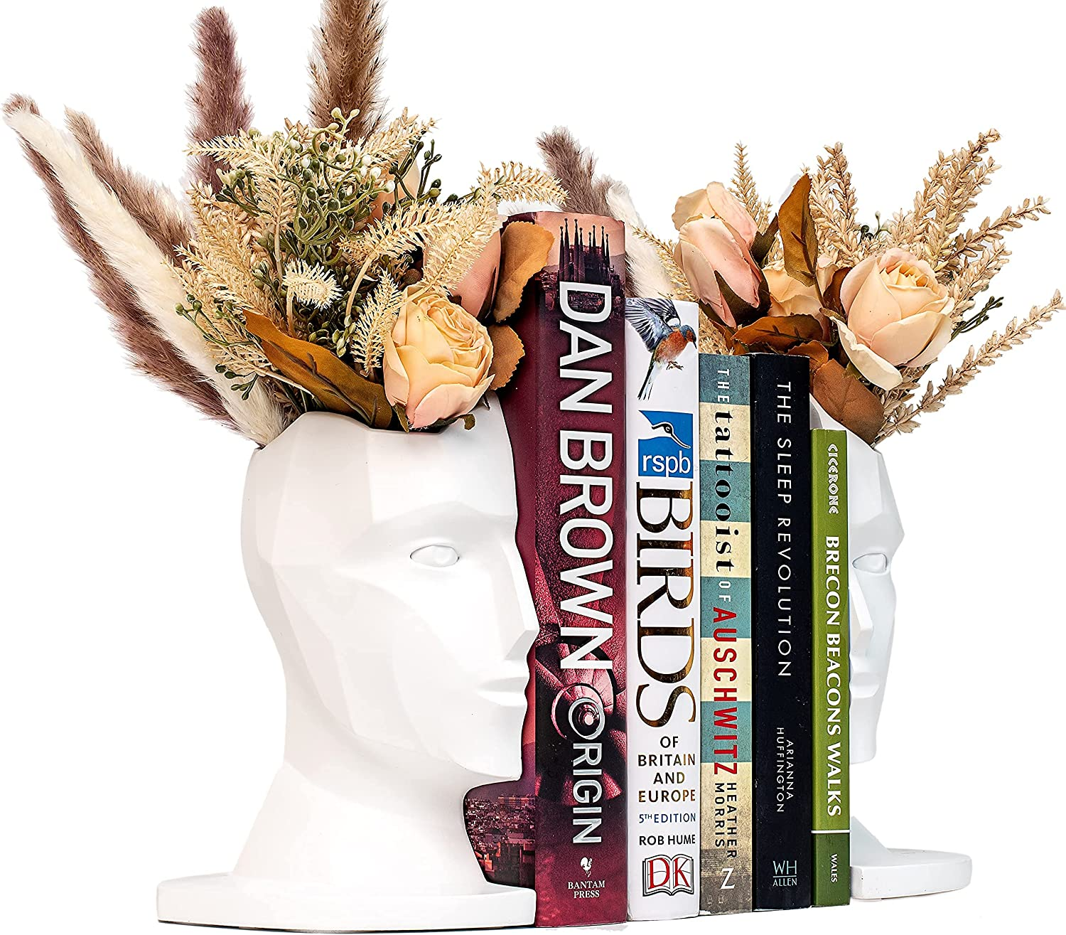 Head Statue Planter / Bookends Decor - 8 inch - Indoor Plant Pot for Living Rooms Shelves - Modern Home Office Bookshelf Organiser & Book Lovers Gifts (White)