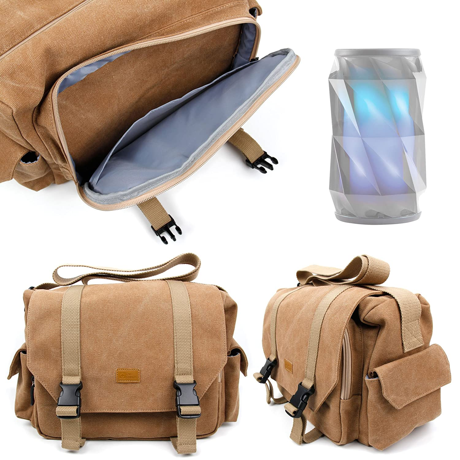 DURAGADGET tan-brown Large SizedキャンバスCarry Bag for新しいiHome ibt74色変更Bluetooth充電式スピーカー – 複数のポケットが&カスタマイズ可能な内部コンパートメント   B018VYXNNC