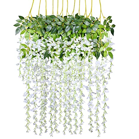 12 Pack 1 Piece 3.6 Feet Artificial Fake Wisteria Vine Ratta Hanging Garland Silk Flowers String Home Party Wedding Decor (White) Artificial Flowers at amazon