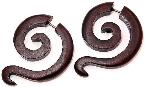 Faux Dilatador madera pendientes Piercing Wooden Gauge Earring-Fake espiral: Amazon.es: Joyería