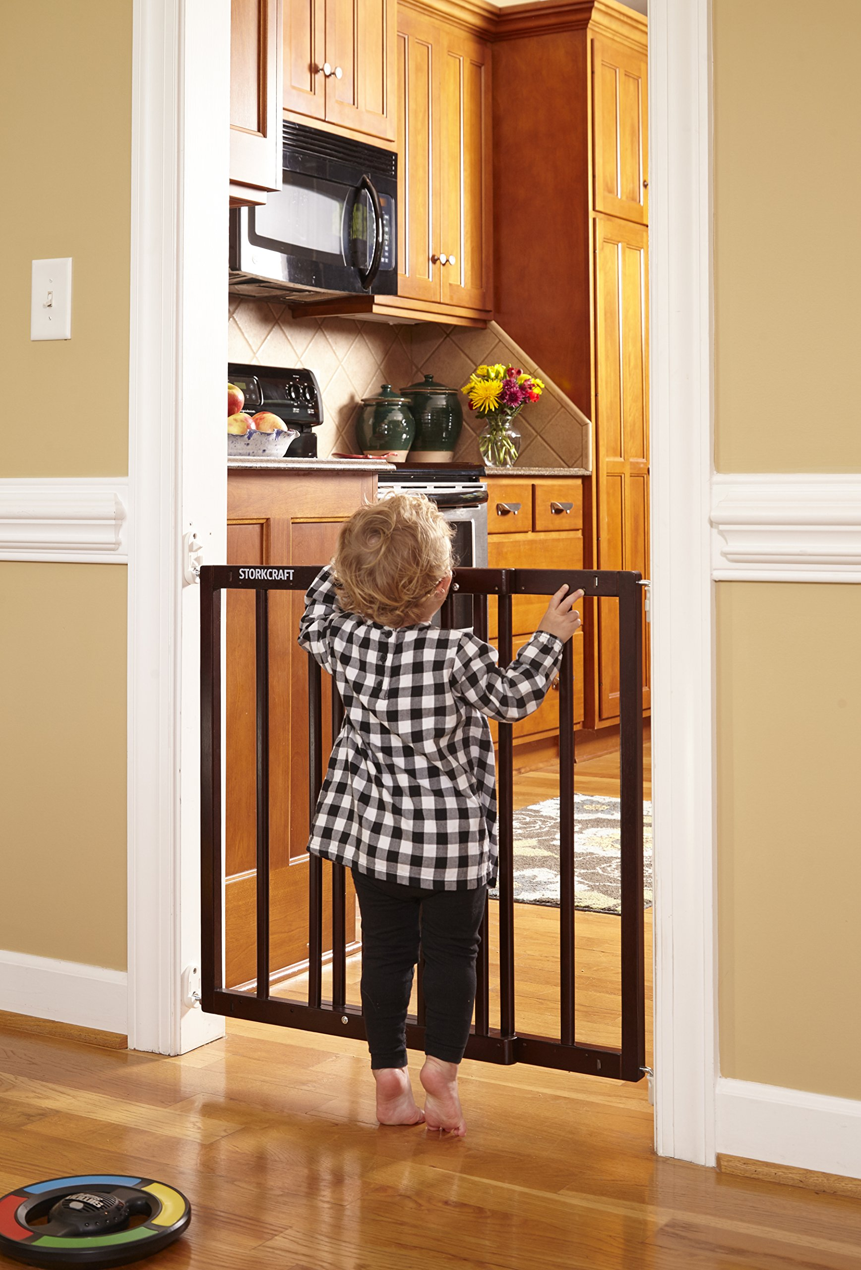 Storkcraft Easy Walk-Thru Wooden Safety Gate, Espresso Adjustable Baby Safety Gate For Doorways and Stairs, Great for Children and Pets by Stork Craft (Image #6)