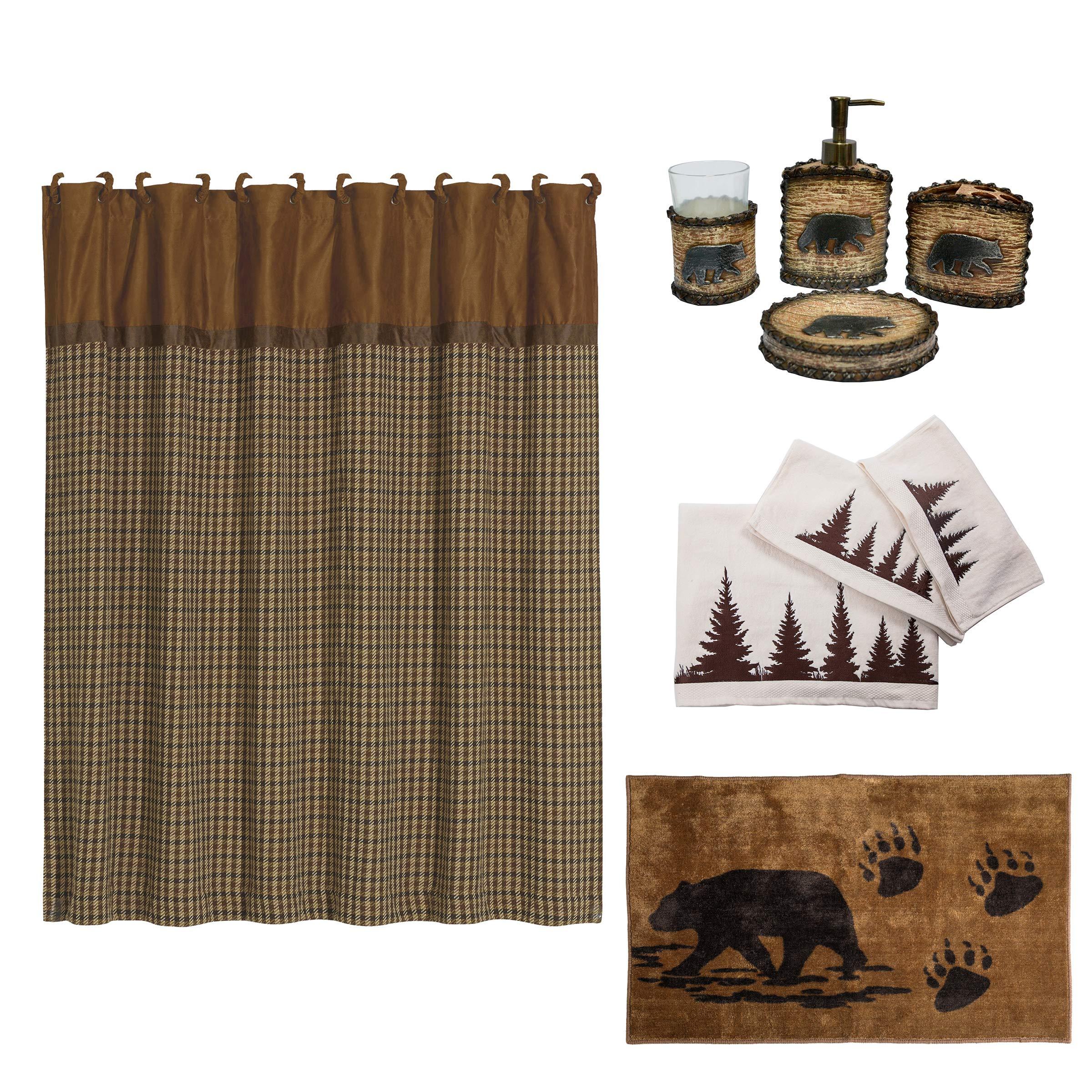 HiEnd Accents Bear 21-Piece Bathroom, Shower Curtain Hook, Bath Accessory, Rug, Towel Set, Tan