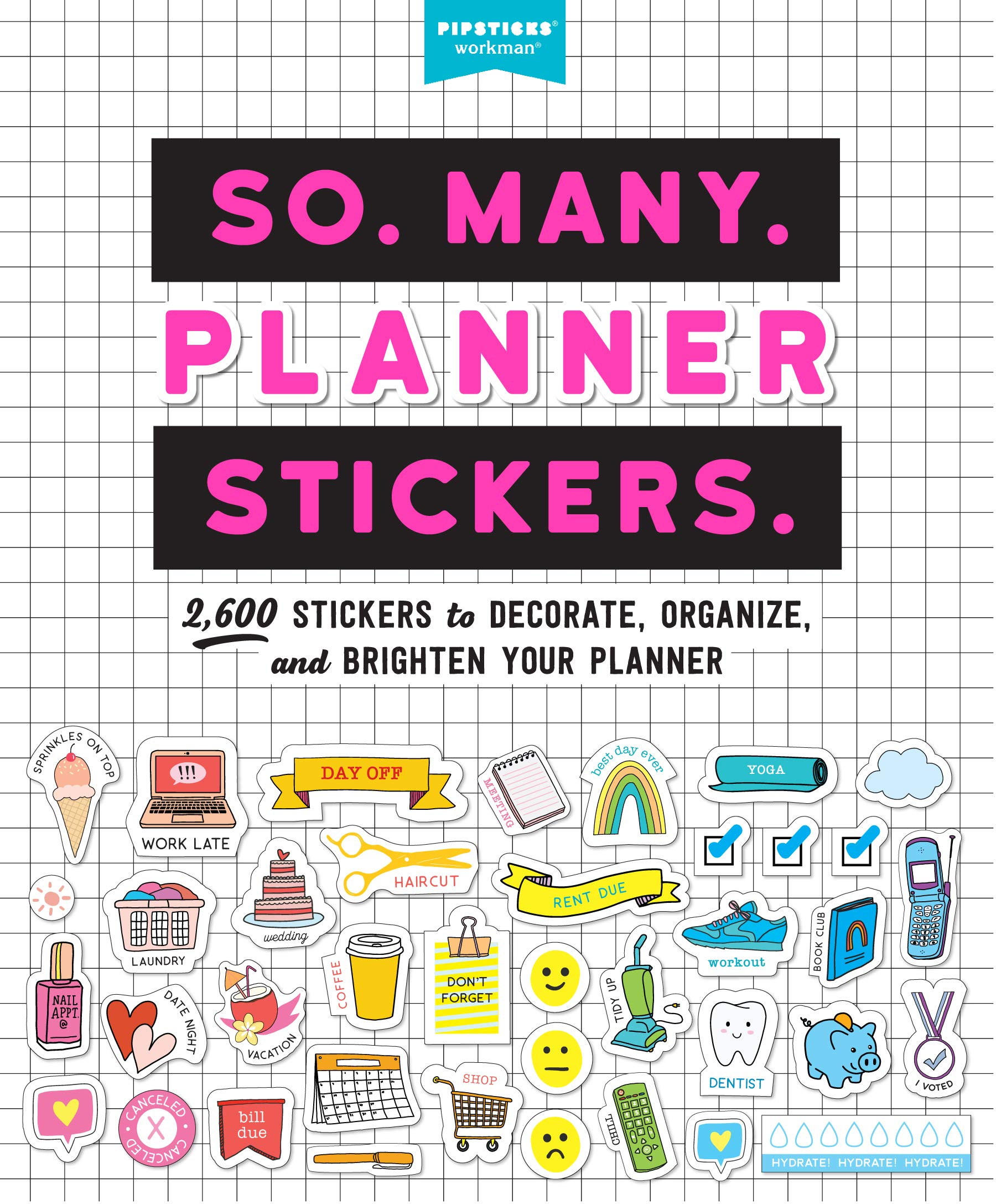 WI0213 Words And Icons Matte Sticker Paper, Take A Hike Planner stickers All Black Neutral Words And Icon Stickers