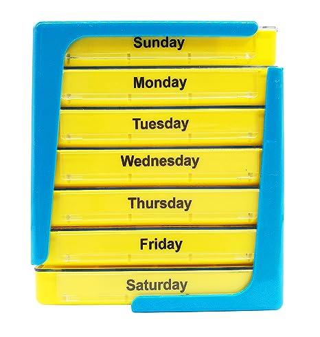 PuTwo pastillero 7 días dispensador de píldoras de organizador de pastillas semanal con 4 compartimientos -