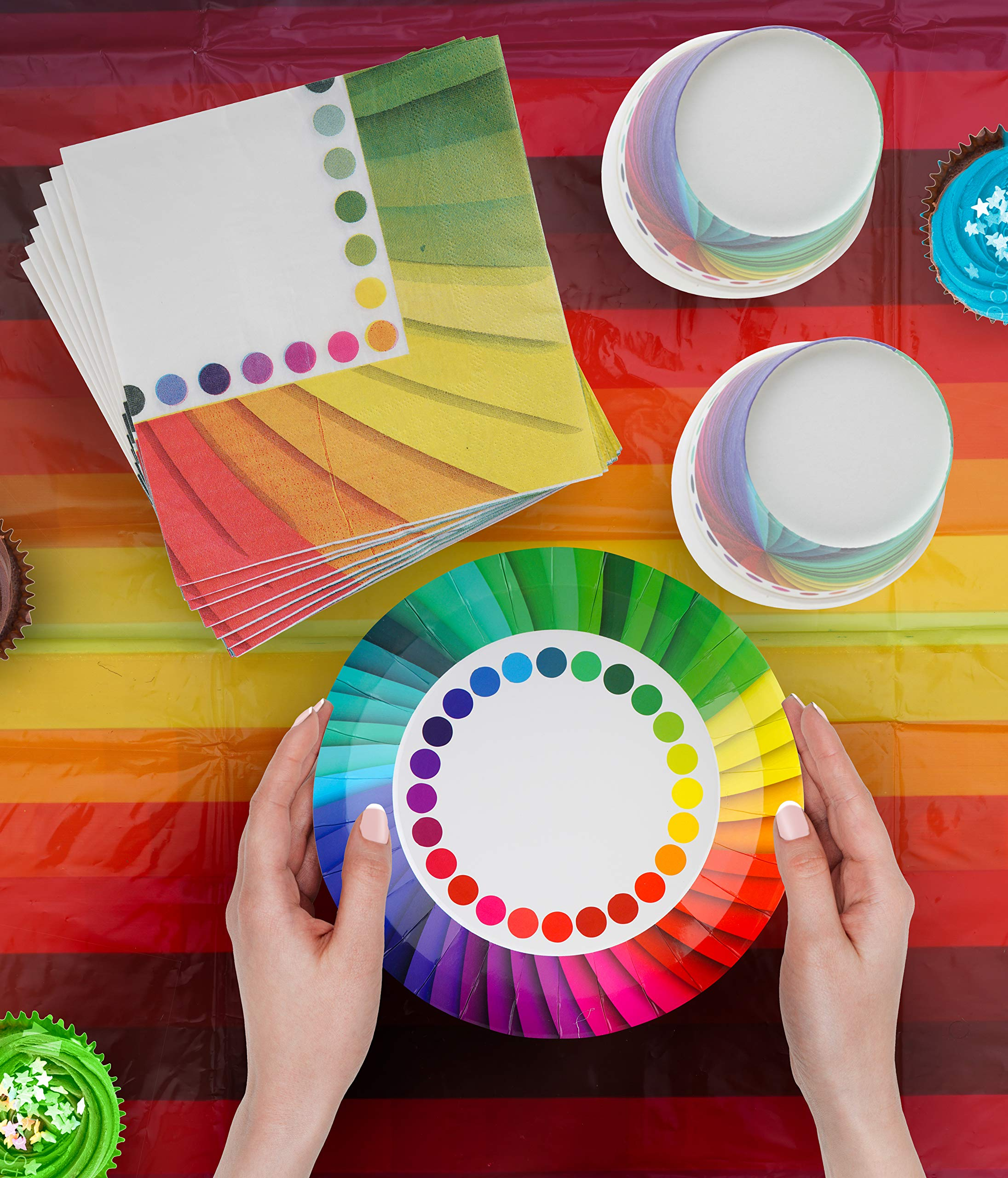 82 Piece Rainbow Party Set Including Banner, Plates, Cups, Napkins and Tablecloth, Serves 20 by Scale Rank (Image #3)