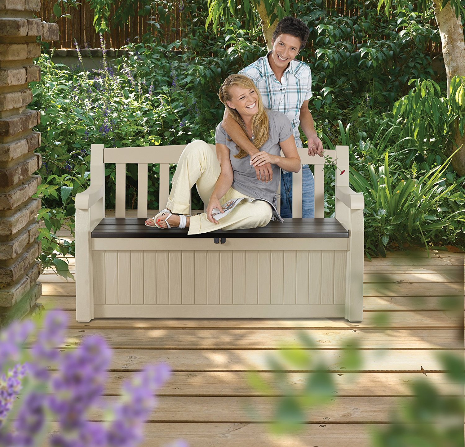 Outdoor Resin All Weather Plastic Seating & Storage Bench by KeterEden (Image #5)