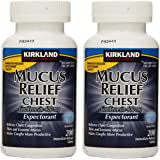 Kirkland Signature BVZVCAXA Mucus Relief Chest Guaifenesin 400 mg Expectorant, 2 Pack of 200 Immediate Release Tablets