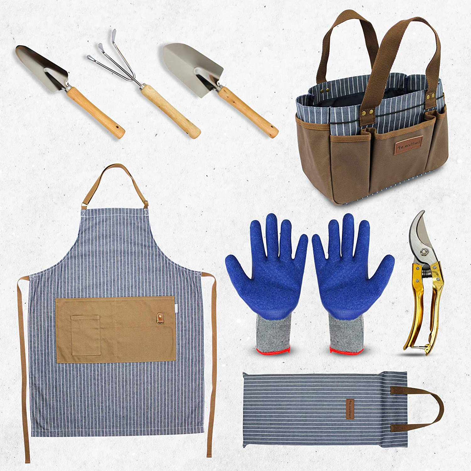 re.earthed Stylish, Modern 8 Piece Gardening Bag and Tool Set for Women and Men. Great as a Gift Set for Gardeners and Includes a Bag Tote, Apron, Kneeler, Stainless Steel Tools, Shears and Gloves