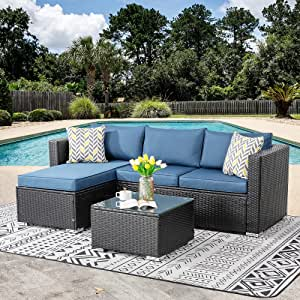 SUNLEI Outdoor Furniture Patio Sets,Low Back All-Weather Small Rattan Sectional Sofa with Tea Table&Washable Couch Cushions&Upgrade Wicker (Aegean Blue)
