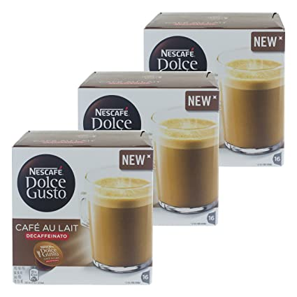 Nescafé Dolce Gusto Café au Lait Descafeinado, Café, caffelatte, 3 x 16 Cápsulas