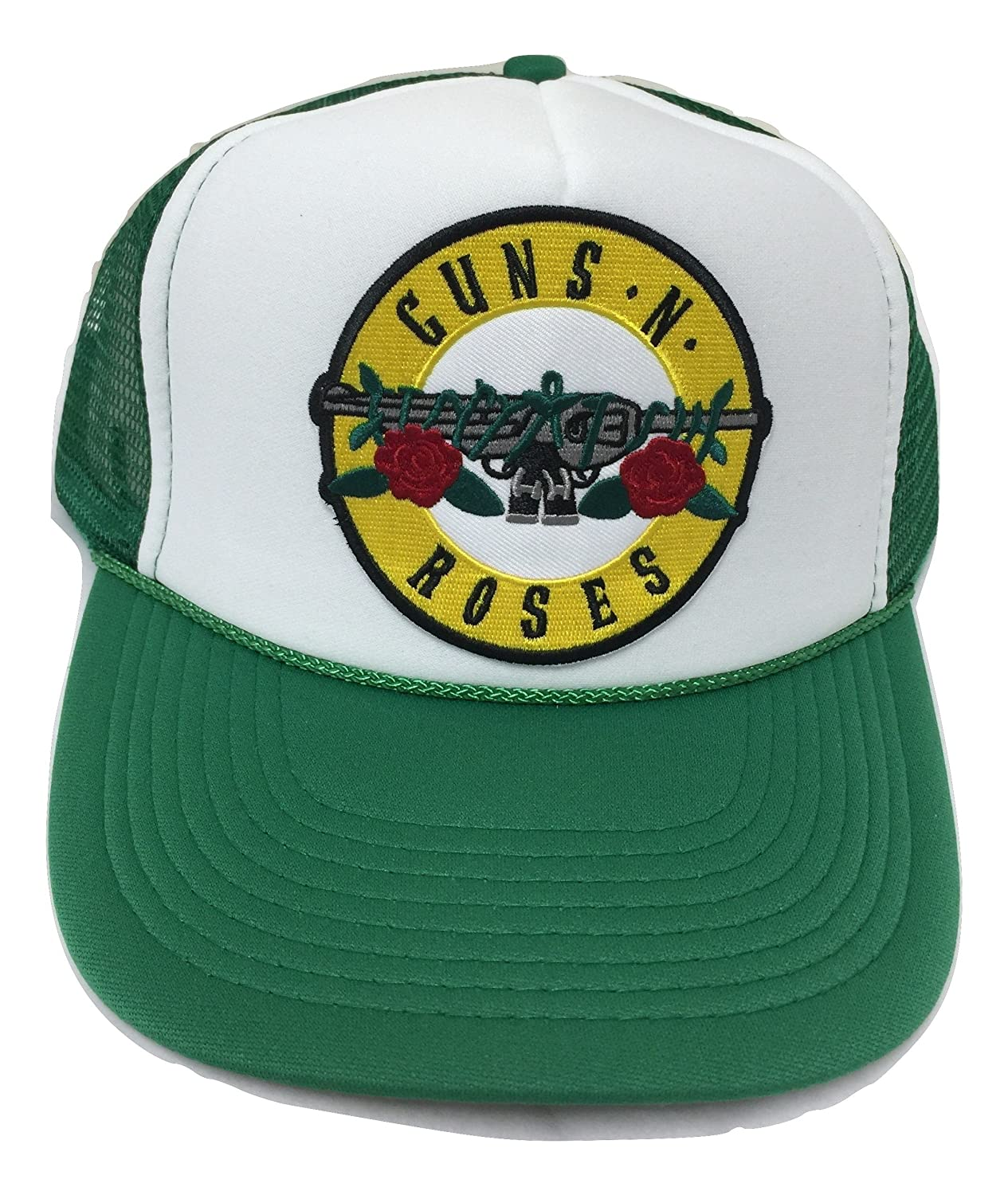 Guns N Roses Trucker Style Baseball Cap with Snapback in Kelly Green and White Landfilldzine