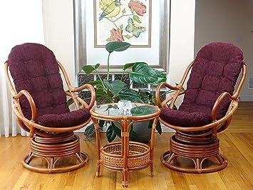 Amazon.com: 3 pc Java mecedora giratoria silla Natural hecho ...