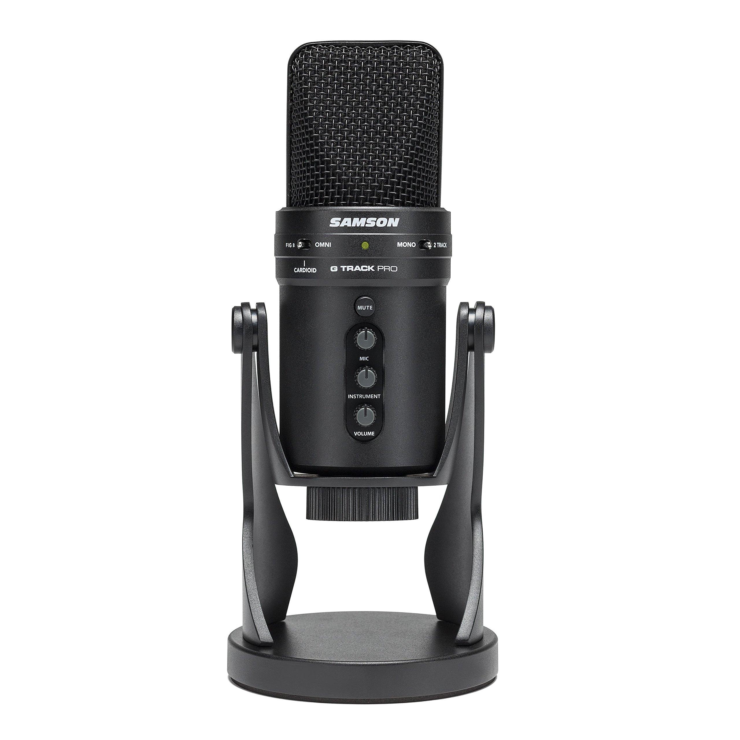 Samson G-Track Pro Micrófono de condensador USB profesional con interfaz de audio